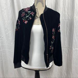 Velvet Bomber Jacket Embroidered Flowers a.n.a.